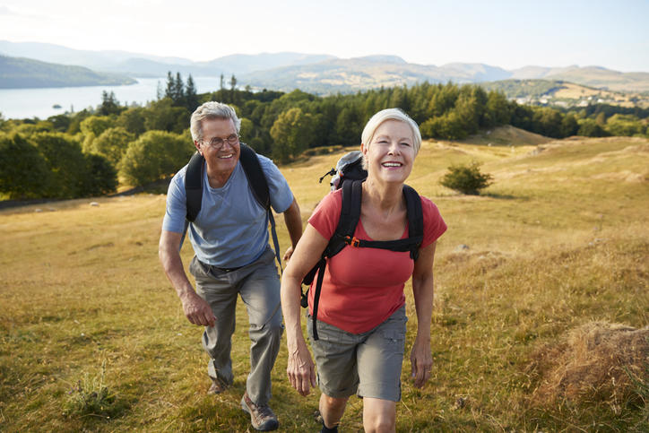senior adults hiking